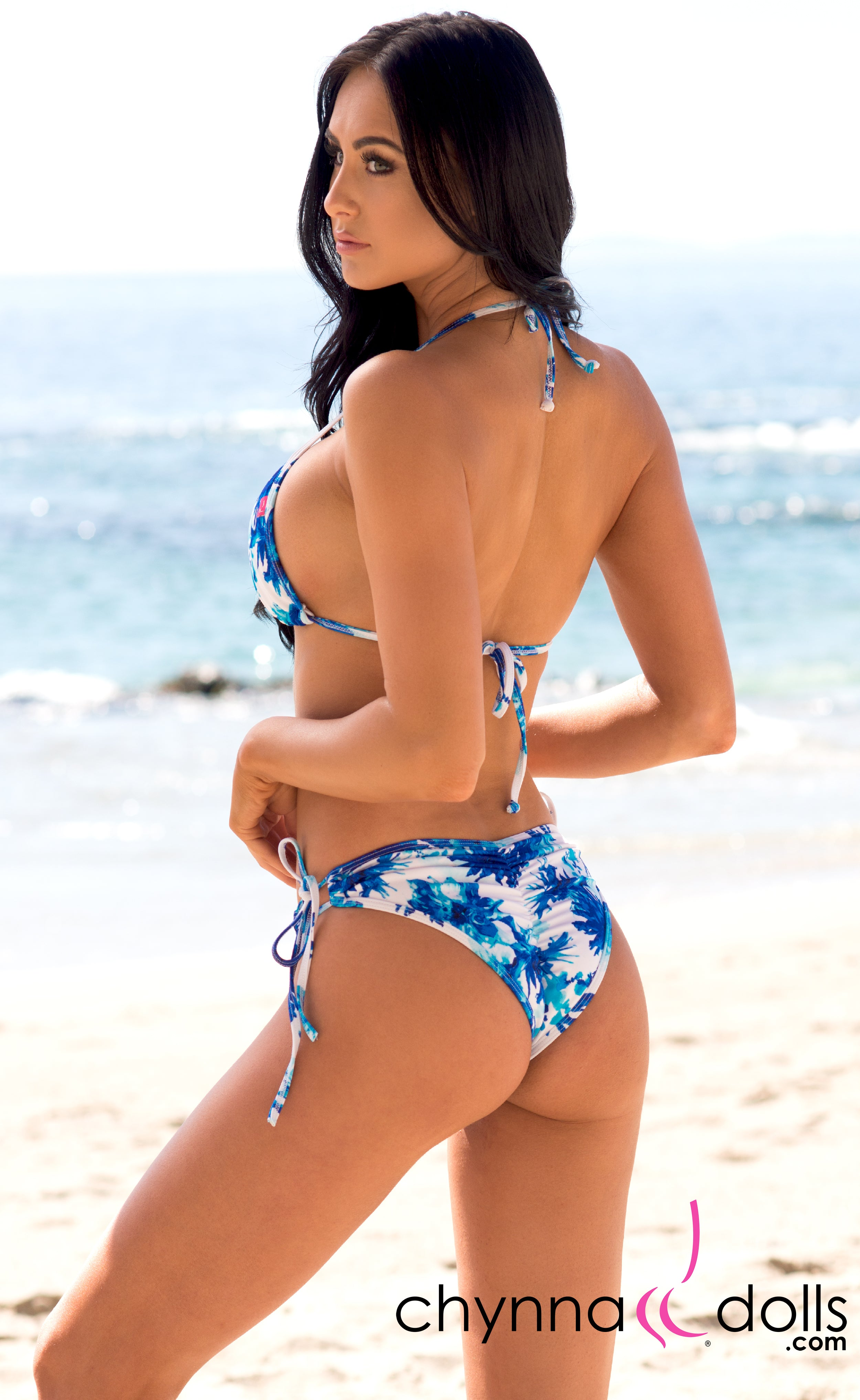 Hermosa: Double String Bathing Suit in Blue Flowers on White