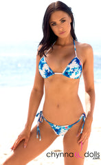 Venice: Micro Bathing Suit in Blue Flowers on White - Chynna Dolls Swimwear