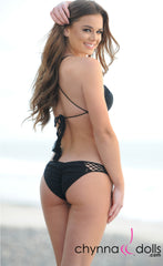 Tampa: Halter Triangle 2 PC Crochet Bikini in Black