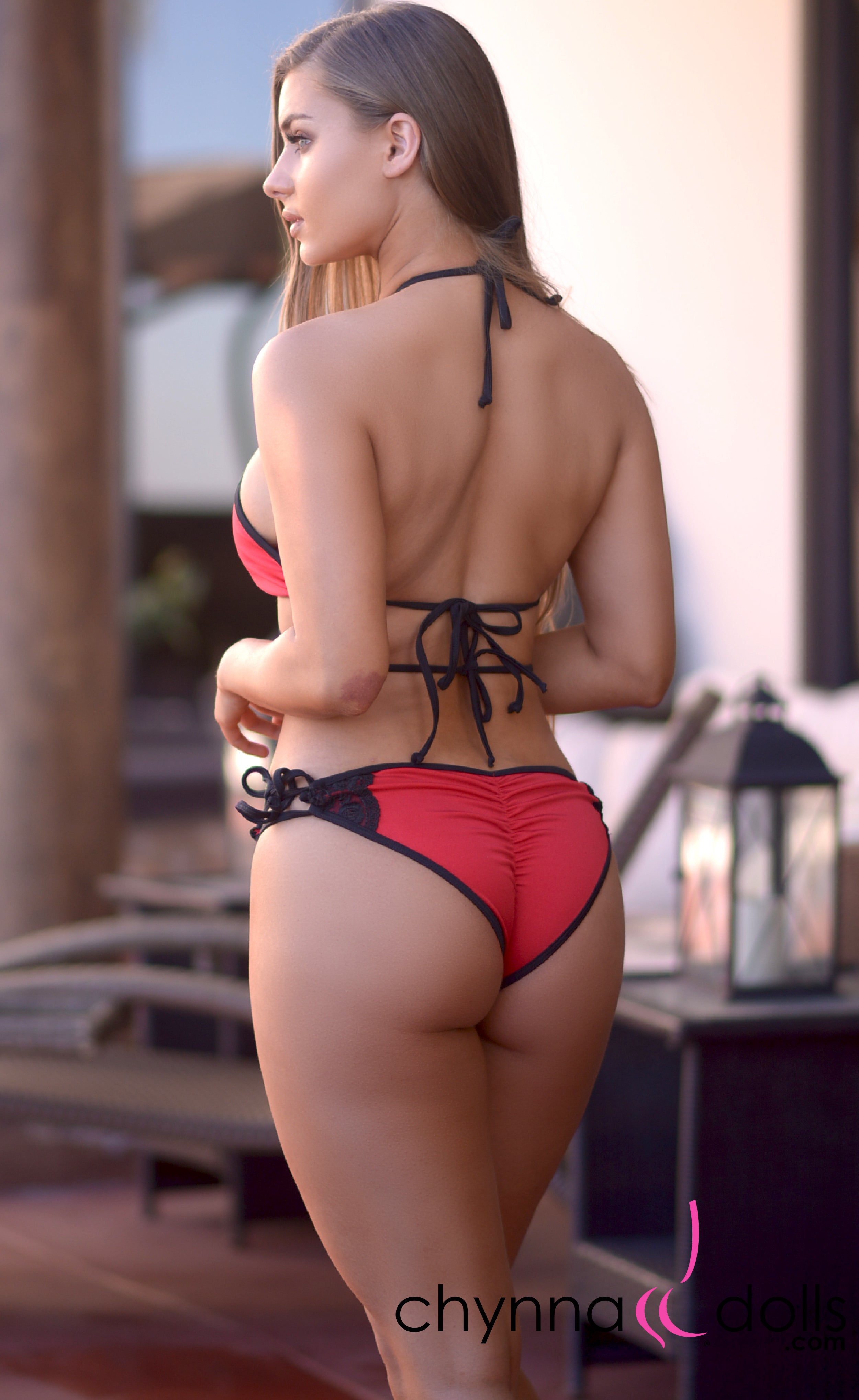 Anguilla: Lace Up Halter Bathing Suit in Red with Black Lace Detail