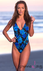 St. Martin: High Cut Swimsuit Monokini w/ Plunging Neckline in Blue Flowers on Black