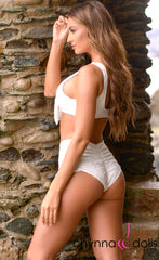 Evie: Tie Top Swimsuit w/ High Waisted Bottoms in Ivory Eyelet