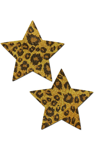 Pastease: Glittering Gold Cheetah Star Pasties - Chynna Dolls