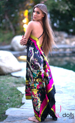 Sabrina: V-neck Maxi Scarf Dress in Multicolor Paisley - Chynna Dolls Swimwear