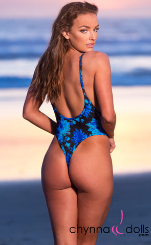 St. Martin: High Cut Swimsuit Monokini w/ Plunging Neckline in Blue Flowers on Black - Chynna Dolls
