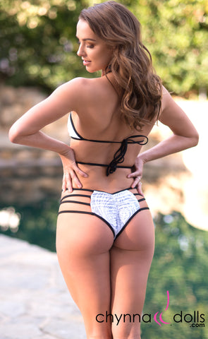 Madison: Lace Up Halter Bathing Suit in White Lace with Black Trim
