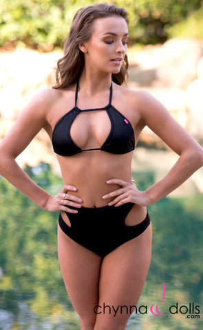 Tulum: Cut Out High Waisted Bikini in Black