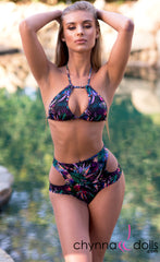 Tulum: Cut Out High Waisted Bikini in CDB Tropical Print