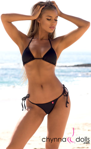 Venice: Micro Bikini in Solid Black - Chynna Dolls Swimwear