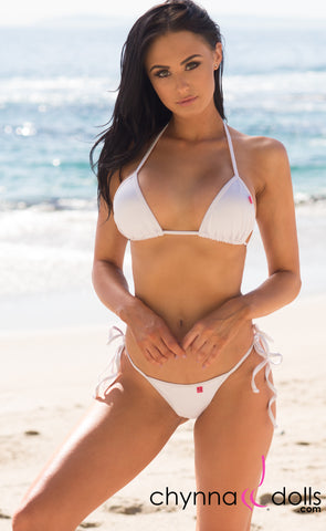 Venice: Micro Swimsuit in Solid White - Chynna Dolls Swimwear