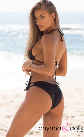 Hermosa: Double String Bikini in Solid Black