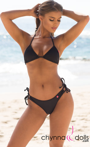 Hermosa: Double String Bikini in Solid Black - Chynna Dolls Swimwear