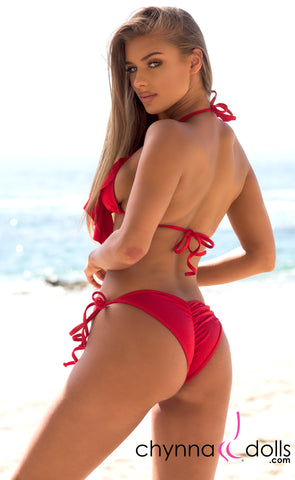 Laguna: String Bikini in Solid Red - Chynna Dolls Swimwear