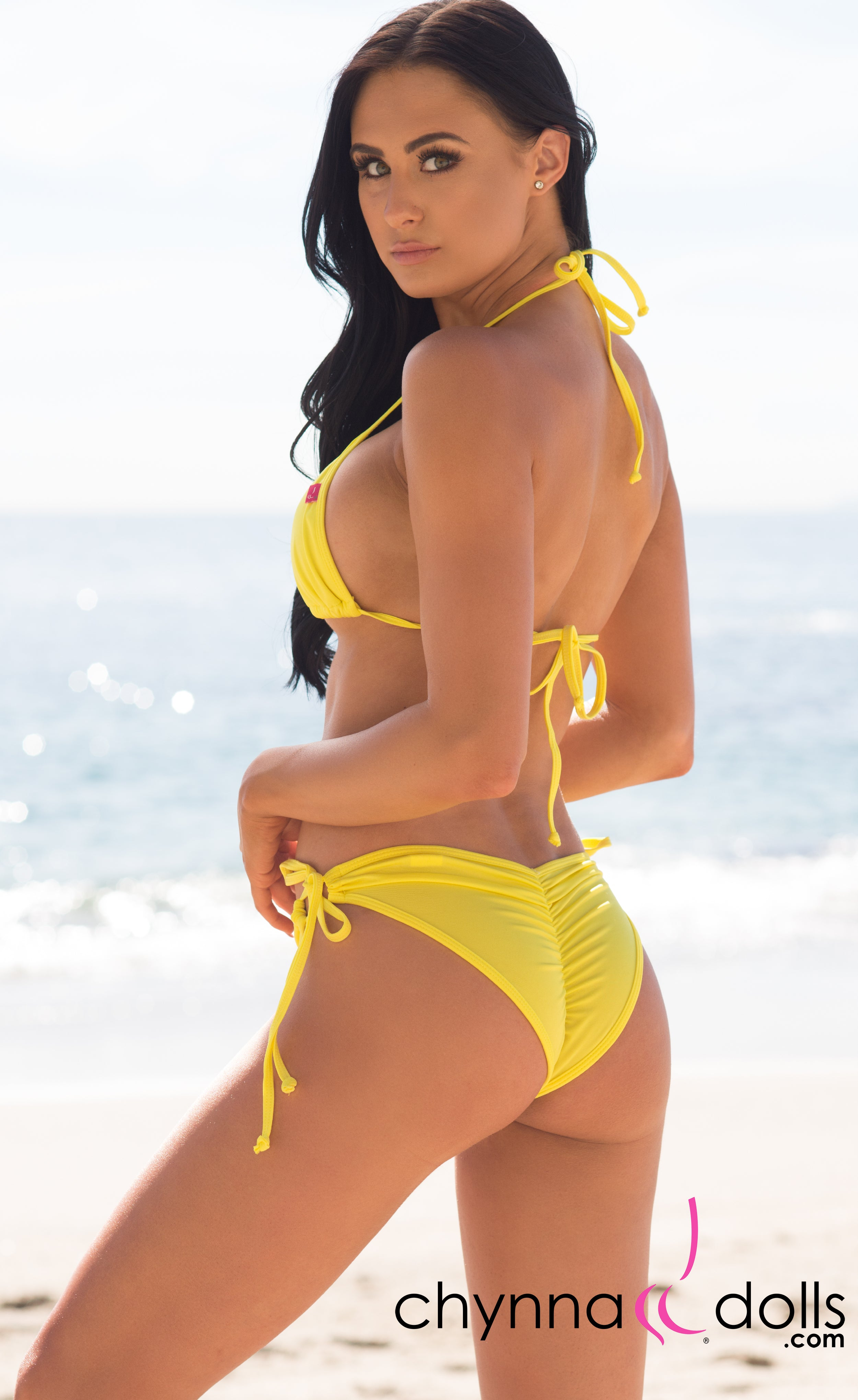 Hermosa: Double String Swimsuit in Solid Yellow - Chynna Dolls