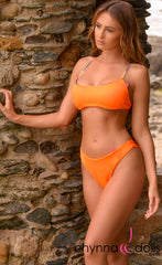 Havana: Reversible Sporty Crop Top w/ 2 Bottom Options in Neon Orange x Tropical