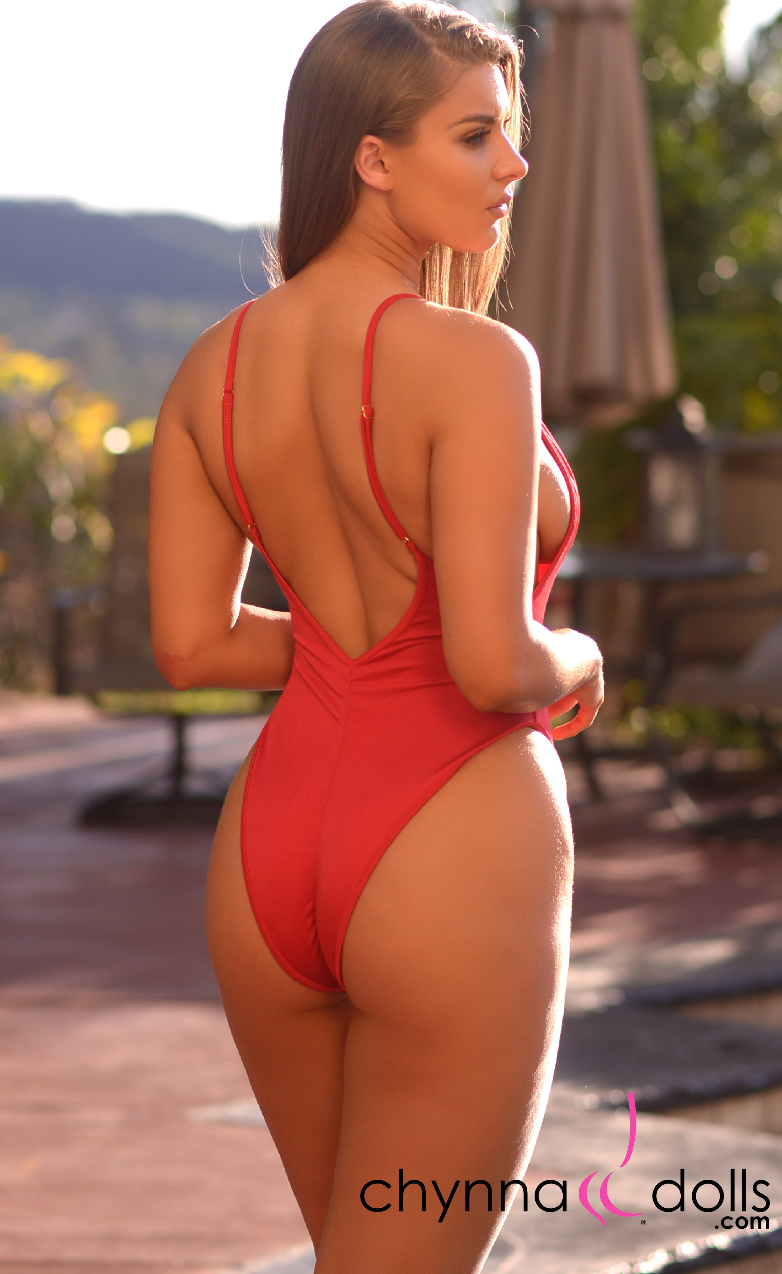 4e455ca555 St. Martin: High Cut Swimsuit Monokini w/ Plunging Neckline in Red – Chynna  Dolls