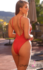St. Martin: High Cut Swimsuit Monokini w/ Plunging Neckline in Red - Chynna Dolls