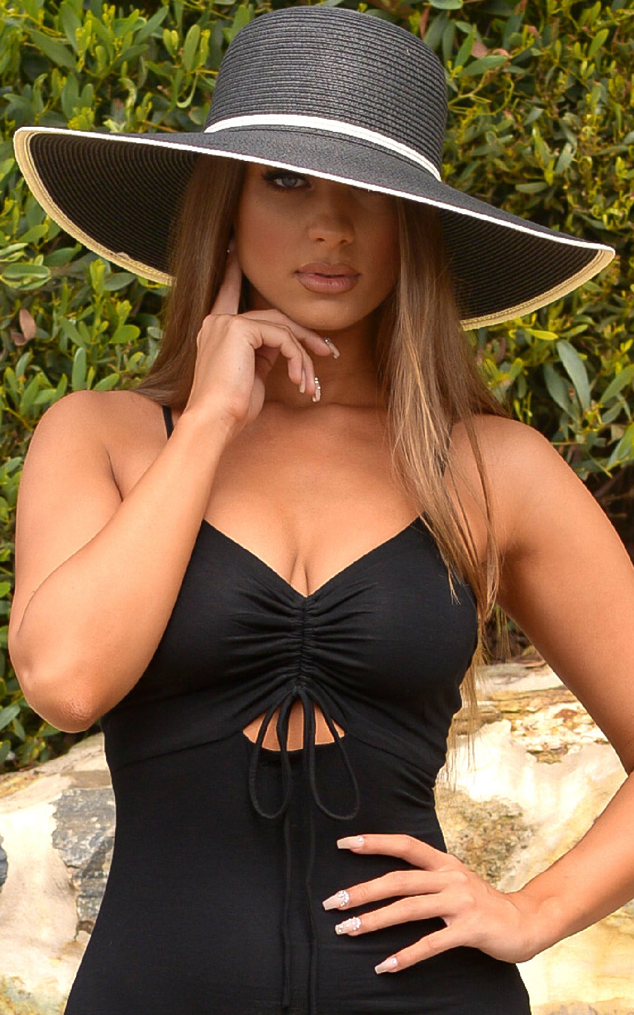 Hat: Black Oversized Floppy Hat with Beige Stripes - Chynna Dolls