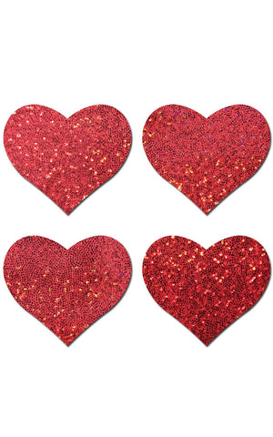 Petite Pastease: Two-Pair Small Red Glitter Hearts Pasties - Chynna Dolls