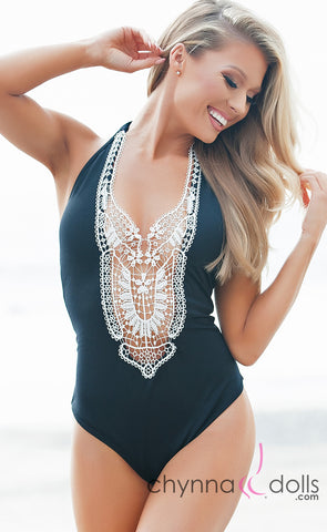 Florence: Crochet Halter One Piece in Black - Chynna Dolls Swimwear