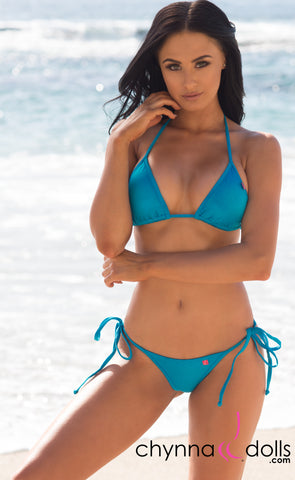 Venice: Micro Swimsuit in Solid Turquoise Blue - Chynna Dolls Swimwear