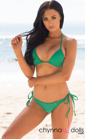 Laguna: String Swimsuit in Solid Emerald Green - Chynna Dolls