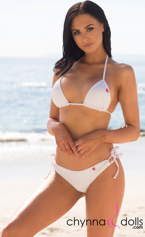 Hermosa: Double String Swimsuit in Solid White