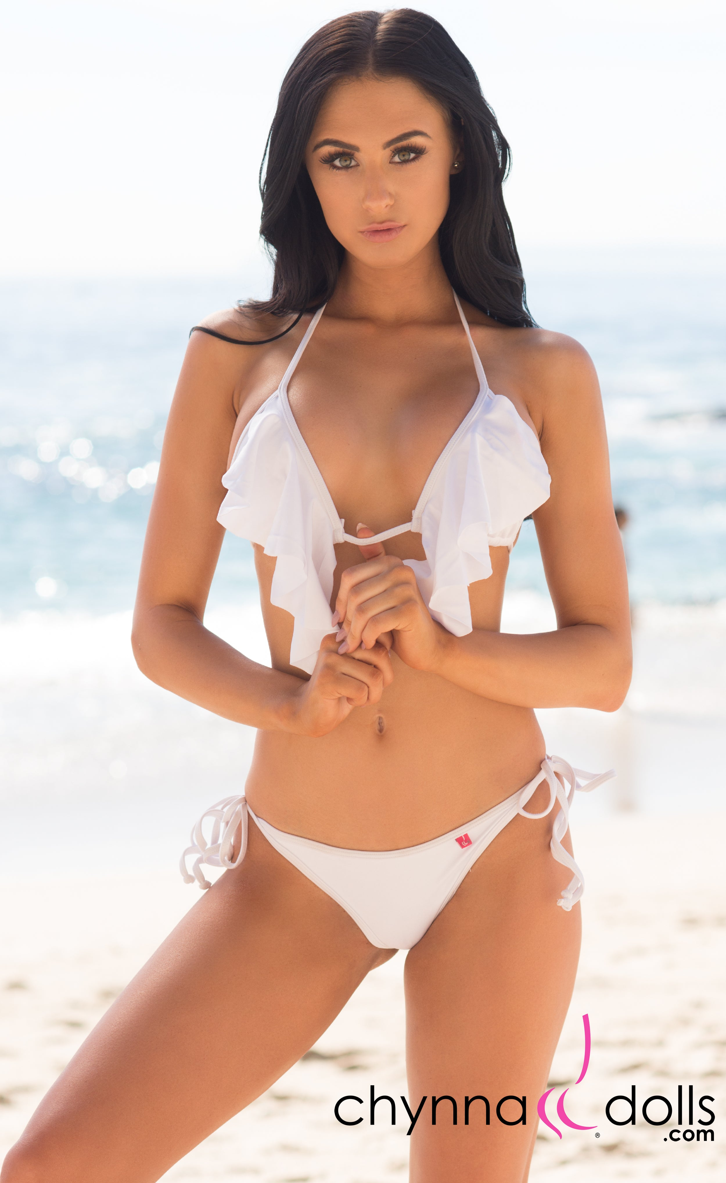 Costa Mesa: Waterfall Triangle Swimsuit in Solid White