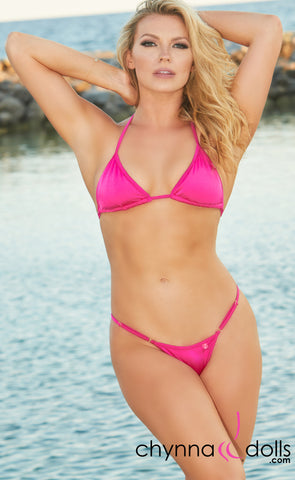 Rio: T-Back Thong Swimsuit in Solid Fuchsia Pink