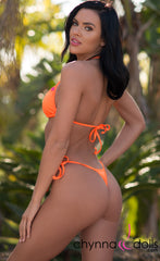 Rio: T-Back Thong Bikini in Solid Neon Orange - Chynna Dolls