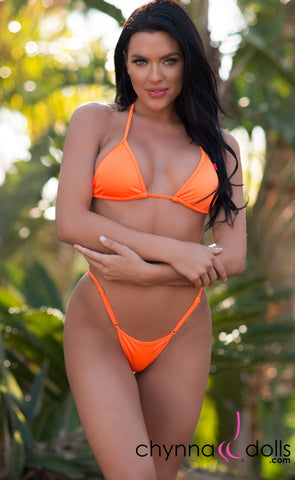 Rio: T-Back Thong Bikini in Solid Neon Orange