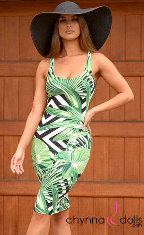 Khloe: Bodycon Tank Dress in Foliage - Chynna Dolls Swimwear