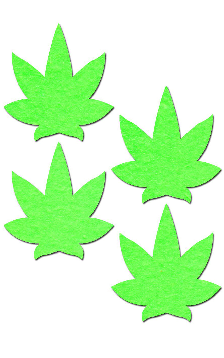 Petite Pasties Two-Pair Of Small Glowing Pot Leaf Nipple -9360