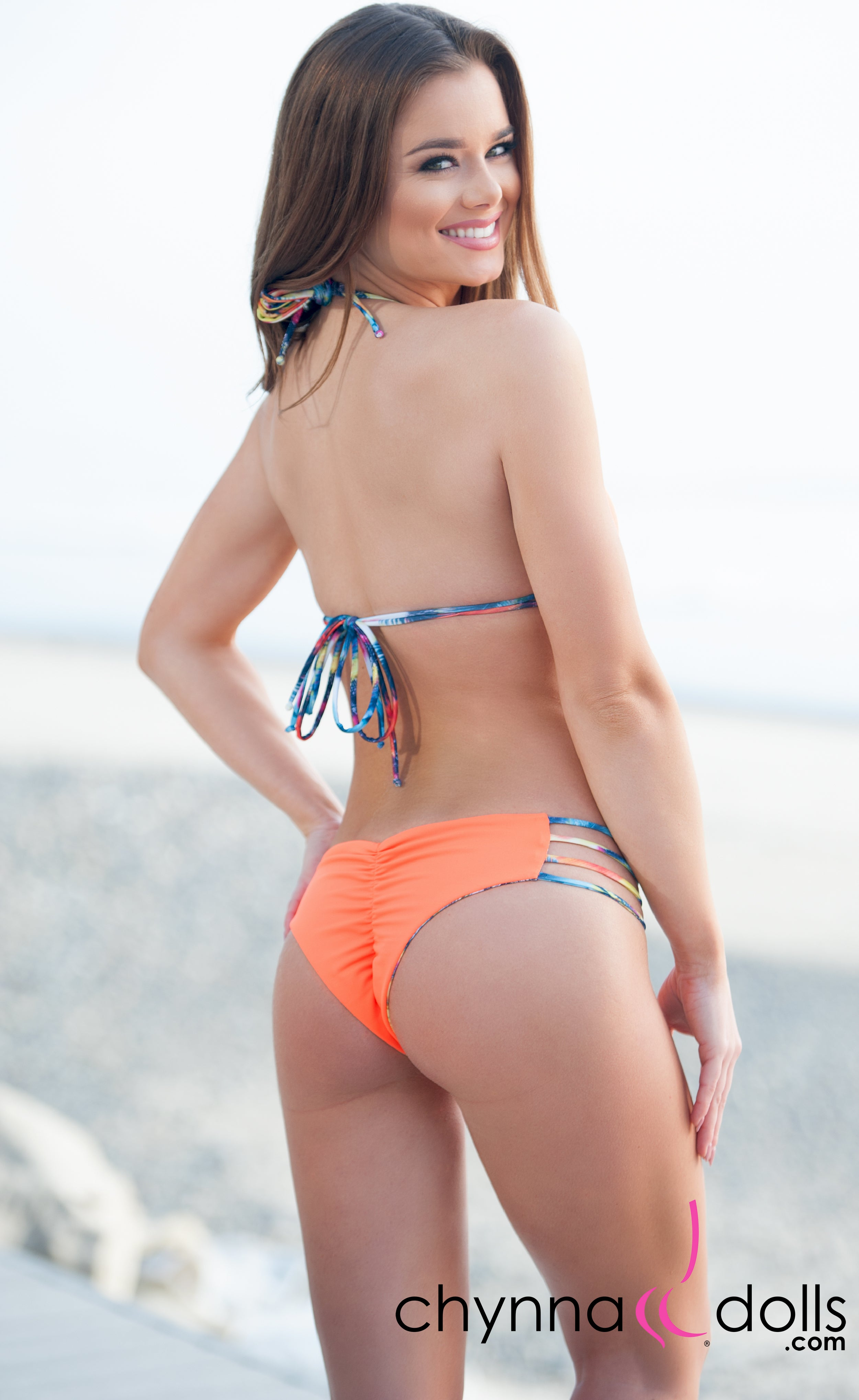 Ibiza: Reversible 4 Strap Diamond Bitty Bikini in Orange/Palm Tree - Chynna Dolls Swimwear