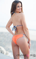 Ibiza: Reversible 4 Strap Diamond Bitty Bikini in Orange/Palm Tree