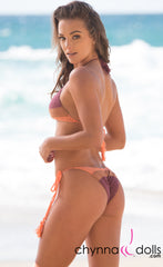Daytona: Tri Color Crochet Bikini in Peach/Tan/Plum