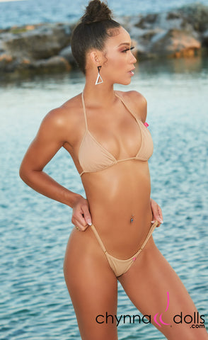 Rio: T-Back Thong Bikini in Solid Tan