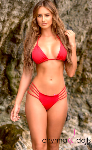 Heart Cake: Heart Shaped Reversible Bikini in Red x Spring Bouquet - Chynna Dolls Swimwear