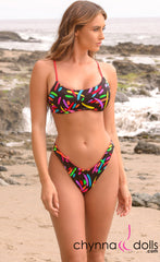 Havana: Reversible Sporty Crop Top w/ 2 Bottom Options in Red x Fiesta - Chynna Dolls Swimwear