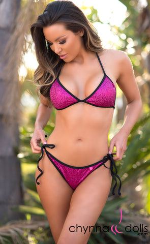 Cadiz: String Bikini in Fuchsia Mini Sequin w/ Black Trim