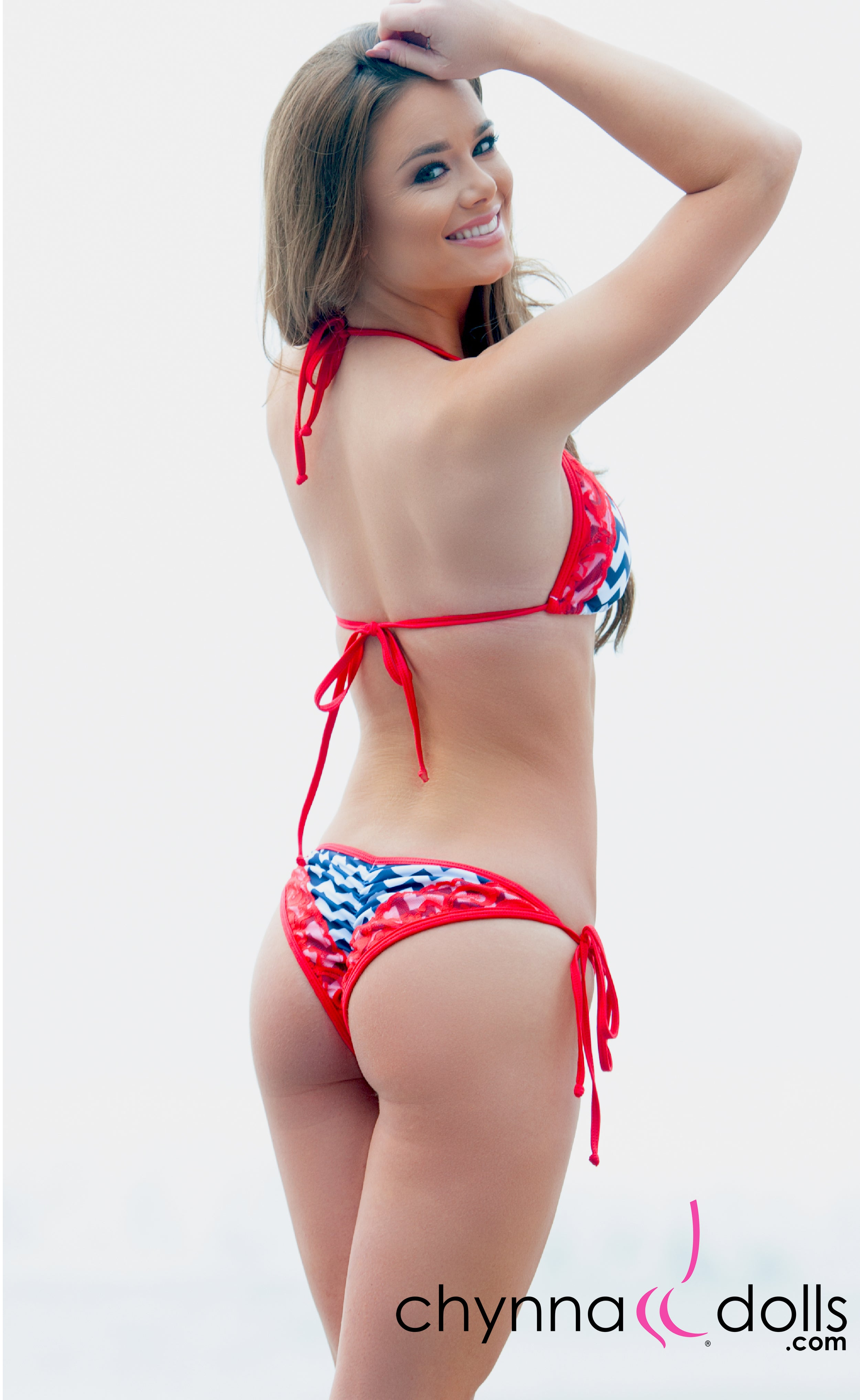Naples: String Bikini in Navy Chevron Print w/ Red Lace and Trim