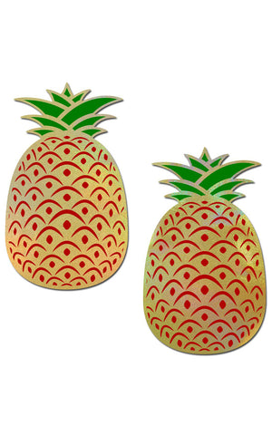 Pastease: Pineapple on Holographic Yellow Pasties - Chynna Dolls Swimwear
