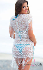 Bali: Lace/Fringe Cover-up in White - Chynna Dolls Swimwear
