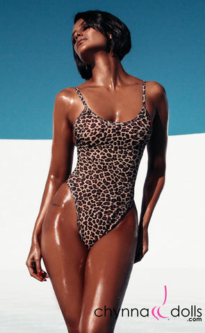 Aliza: High Cut Adjustable Strap One Piece in Leopard