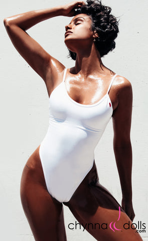 Aliza: High Cut Adjustable Strap One Piece in White