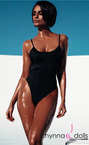 Aliza: High Cut Adjustable Strap One Piece in Black