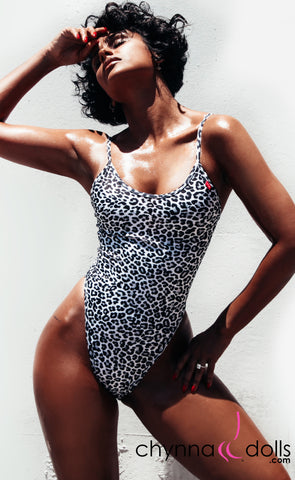 Aliza: High Cut Adjustable Strap One Piece in White Leopard