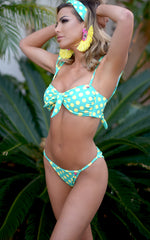 Antalya: Bandeau Bikini With Removable Shoulder Sleeves in Mint w/ Yellow Polka Dots - Chynna Dolls Swimwear