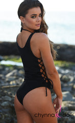 Bombay: Reversible Lace Up One Piece Swimsuit in Black x Leopard