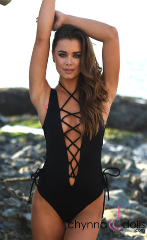 Bombay: Reversible Lace Up One Piece Swimsuit in Black x Snake - Chynna Dolls Swimwear